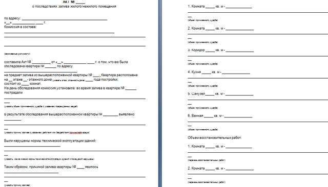 Заявление о затоплении квартиры в управляющую компанию: порядок заполнения и образец документа