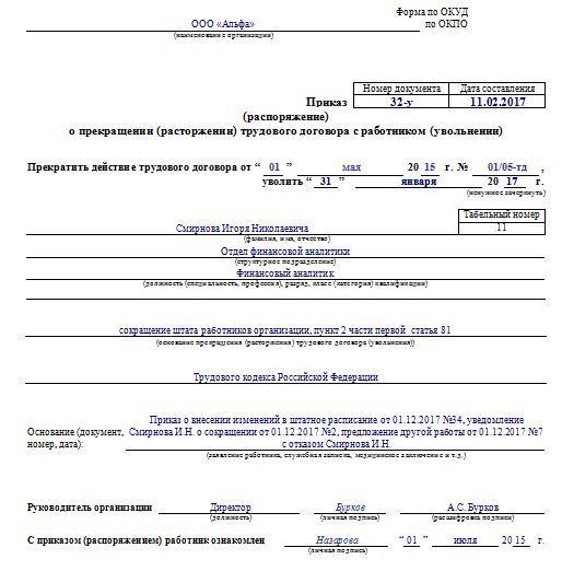Приказы о сокращении штата и численности работников: порядок заполнения и образцы документов