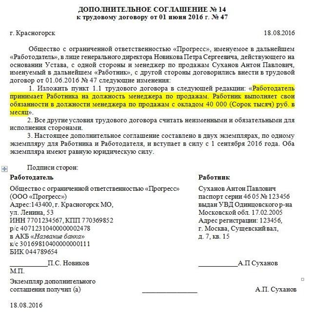 Дополнительное соглашение к коллективному договору: порядок оформления и образец приложения