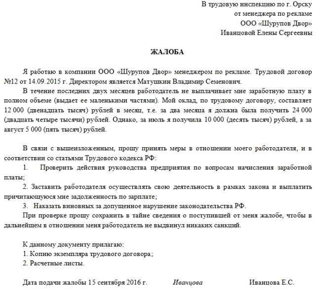 Задержка выплаты зарплаты по ТК РФ: что грозит работодателю и куда можно жаловаться сотруднику? Порядок действий и образец заявления