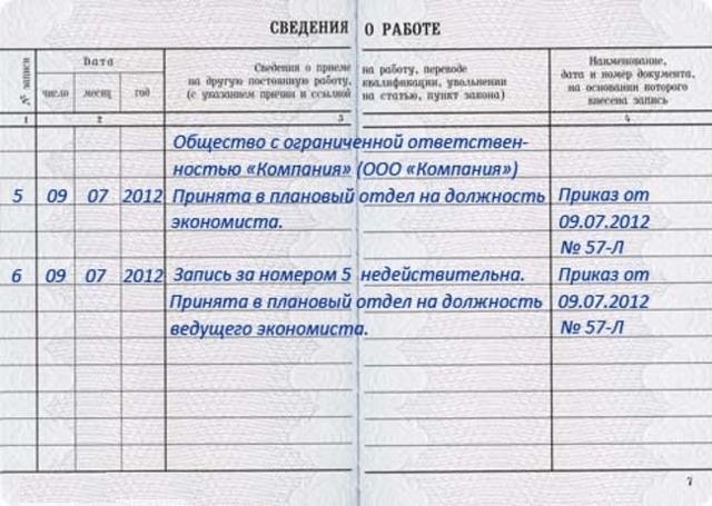 Запись в трудовой книжке считать недействительной: порядок внесения исправлений и образец оформления документа