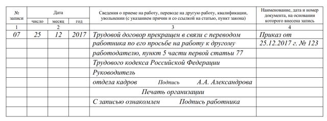 Оформление перевода работника в другую организацию: отпуск, запись в трудовую книжку, образец заявления
