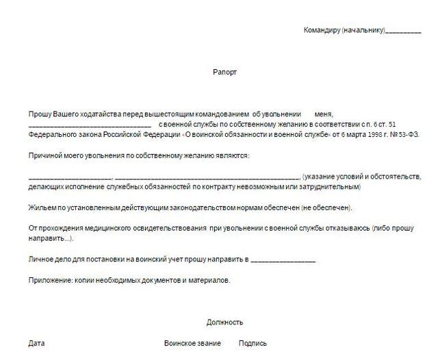 Приказ об увольнение в запас военнослужащего. Правила составления и образец рапорта