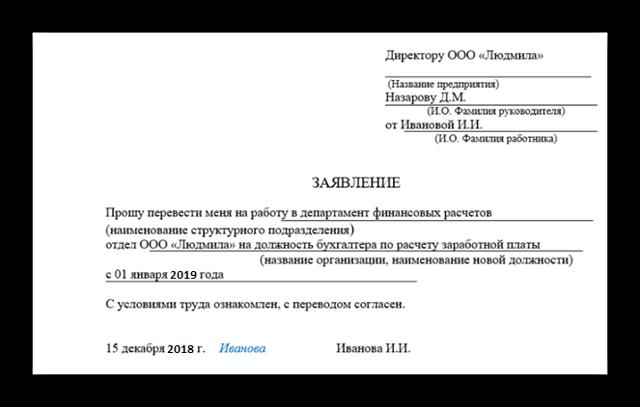 Перевод на другую должность внутри организации: бланк заявления и образец уведомления
