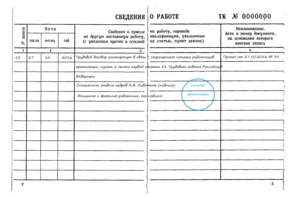 Запись в трудовой книжке об увольнении по сокращению штата: порядок заполнения и образец документа